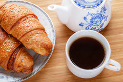 Croissant breakfast. With cup of coffee Royalty Free Stock Photography