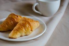 Croissant for Breakfast. Fresh butter croissant for coffee break on breakfast Royalty Free Stock Photos