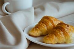 Croissant for Breakfast. Fresh butter croissant for coffee break on breakfast Stock Photo