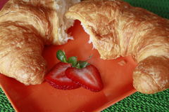 Croissant broken stock photo