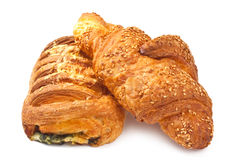 Croissant and bun with cheese and spinach Stock Photos