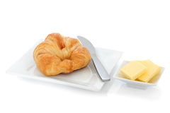 Croissant and Butter Stock Photos