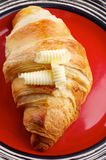 Croissant and Butter Royalty Free Stock Images