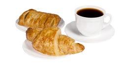 Croissant, café, pastelarias francesas. Foto de Stock Royalty Free