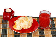 Croissant, candle and red juice Royalty Free Stock Images