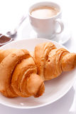 Croissant with cappuchino Royalty Free Stock Photos