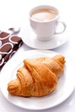 Croissant with cappuchino Stock Image