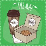Croissant in carton box and coffee in paper cup Stock Photo