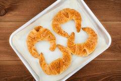 Croissant caseiros recentemente cozidos Fotografia de Stock Royalty Free