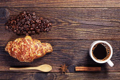 Croissant with cheese and coffee Royalty Free Stock Photo