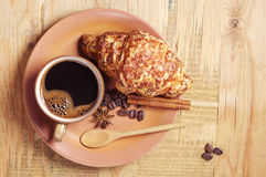 Croissant with cheese and coffee Stock Image
