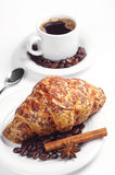 Croissant with cheese and coffee Royalty Free Stock Image