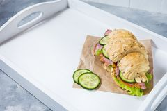 Croissant with cheese, ham, cucumber and salad on white tray. Copy space Stock Images