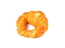 Croissant with cheese on white Royalty Free Stock Photos