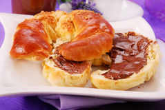 Croissant with chocolate cream royalty free stock photo