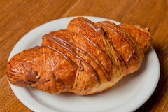 Croissant with chocolate Royalty Free Stock Image