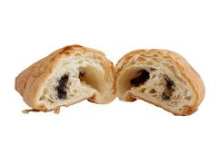 Croissant with chocolate filling Stock Photo