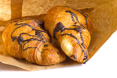 Croissant with chocolate Royalty Free Stock Photo