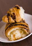 Croissant with chocolate and peach Stock Photos