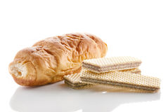 Croissant with chocolate and wafer Stock Photography