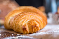 Croissant close up view in the bakery Royalty Free Stock Image
