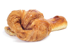 Croissant and coca amb sucre Stock Image