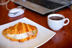 Croissant and Coffe Stock Photo