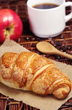 Croissant, coffee and apple Royalty Free Stock Photos