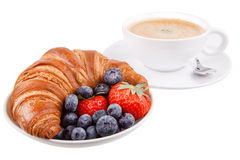 Croissant with coffee and berries Royalty Free Stock Photography