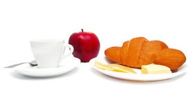 Croissant with coffee, cheese and apple Royalty Free Stock Photo