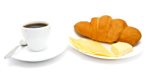 Croissant with coffee and cheese royalty free stock photos