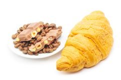 Croissant, coffee and chocolate Royalty Free Stock Photo