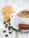 Croissant  with Coffee Stock Image