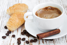 Croissant  with Coffee Stock Images