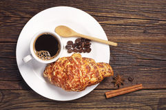 Croissant and coffee cup Royalty Free Stock Photo