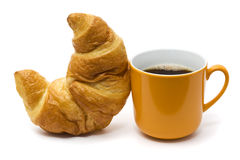 Croissant and coffee isolated on white Royalty Free Stock Image