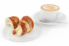 Croissant with coffee latte Royalty Free Stock Photos