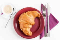 Croissant and coffee Royalty Free Stock Photos
