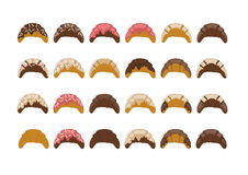 Croissant collection. Illustration of croissant collection with different kind of icing isolated stock illustration