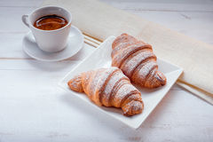 Croissant con caffè Immagini Stock