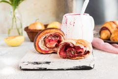 Croissant con inceppamento Fotografia Stock