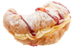 Croissant con la crema del biancomangiare fotografia stock
