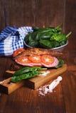 Croissant con la salsiccia Fotografie Stock