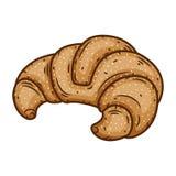 Croissant cozido delicioso isolado em um fundo branco Fotos de Stock Royalty Free