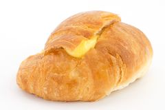 Croissant with cream Royalty Free Stock Photography