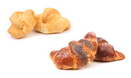 Croissant crescent roll with poppy. Royalty Free Stock Photos