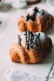 Croissant. S for bakery. breakfast. Morning.  Yekaterinburg stock photo