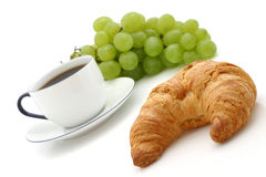 Croissant, cup of coffee royalty free stock images