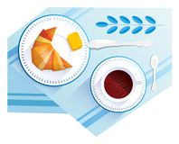 Croissant and cup of coffee vector illustration