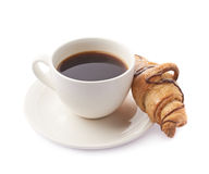 Croissant and cup of coffee Royalty Free Stock Photos